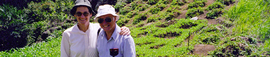 Stewart and Strathern Banner for Lectures & Conferences Page - Image of Stewar and Strathern taken on farmland in Papua New Guinea